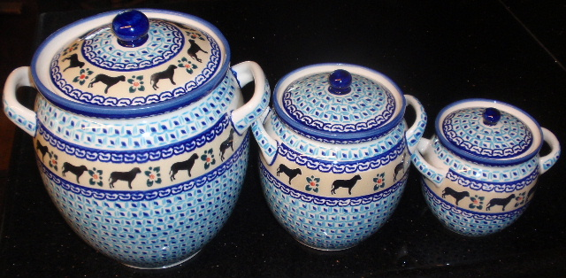 Dog Blue Set of 3 Canisters in row.JPG
